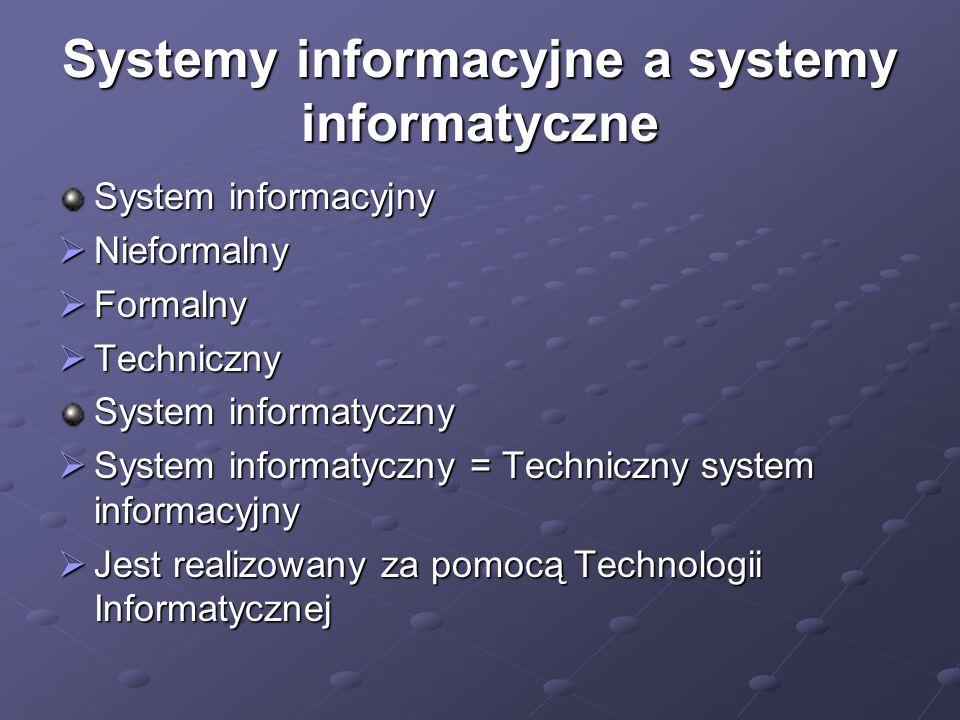 Systemy informacyjne a systemy informatyczne