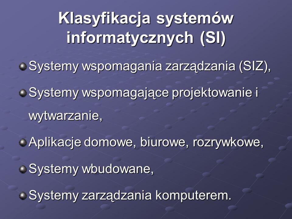 Klasyfikacja systemów informatycznych (SI)