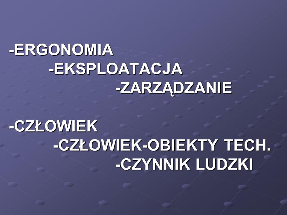 -ERGONOMIA -EKSPLOATACJA -ZARZĄDZANIE -CZŁOWIEK -CZŁOWIEK-OBIEKTY TECH