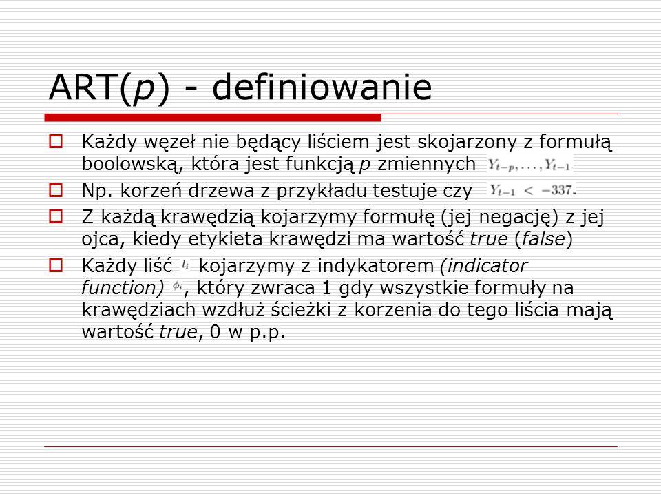 ART(p) - definiowanie Każdy węzeł nie będący liściem jest skojarzony z formułą boolowską, która jest funkcją p zmiennych.