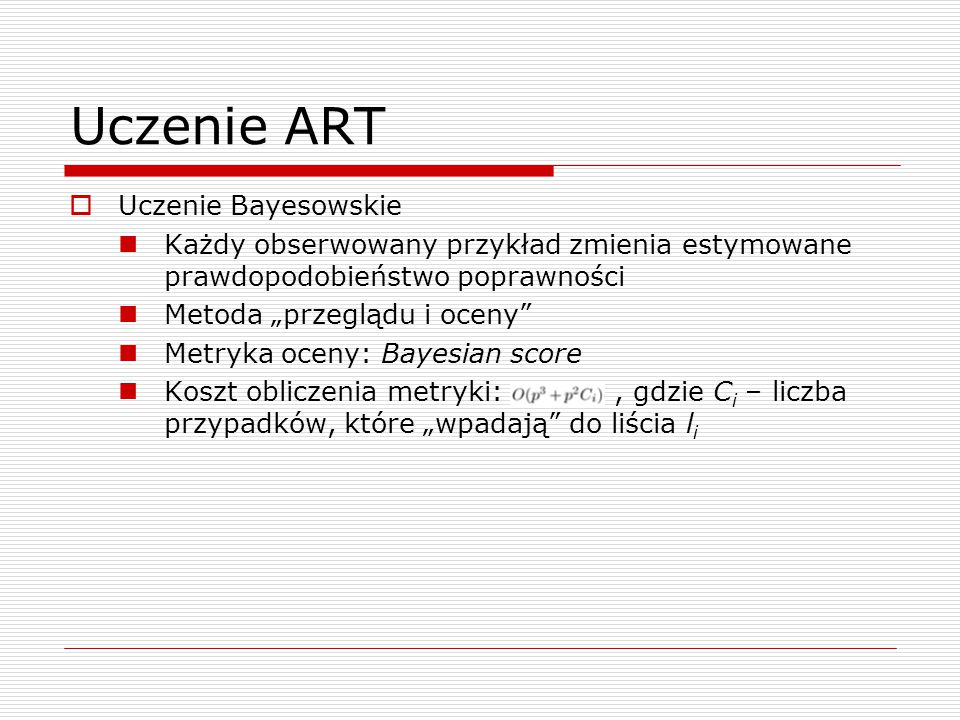 Uczenie ART Uczenie Bayesowskie