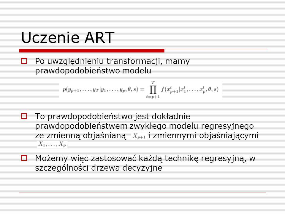 Uczenie ART Po uwzględnieniu transformacji, mamy prawdopodobieństwo modelu.