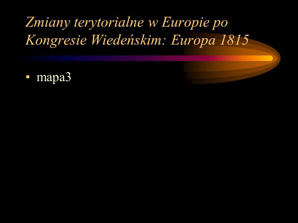 Zmiany terytorialne w Europie po Kongresie Wiedeńskim: Europa 1815