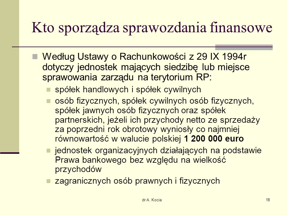 Kto sporządza sprawozdania finansowe