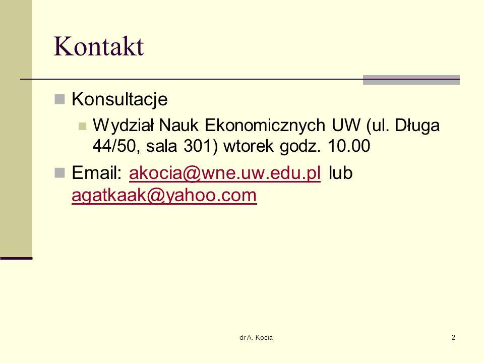 Kontakt Konsultacje. Wydział Nauk Ekonomicznych UW (ul. Długa 44/50, sala 301) wtorek godz. 10.00.