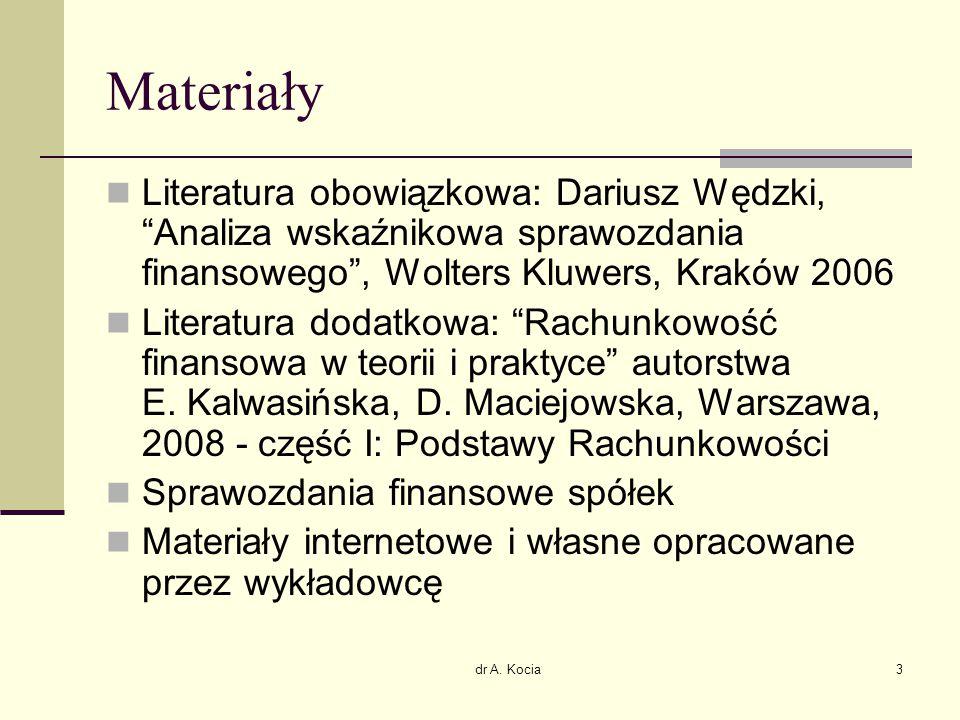 Materiały Literatura obowiązkowa: Dariusz Wędzki, Analiza wskaźnikowa sprawozdania finansowego , Wolters Kluwers, Kraków 2006.