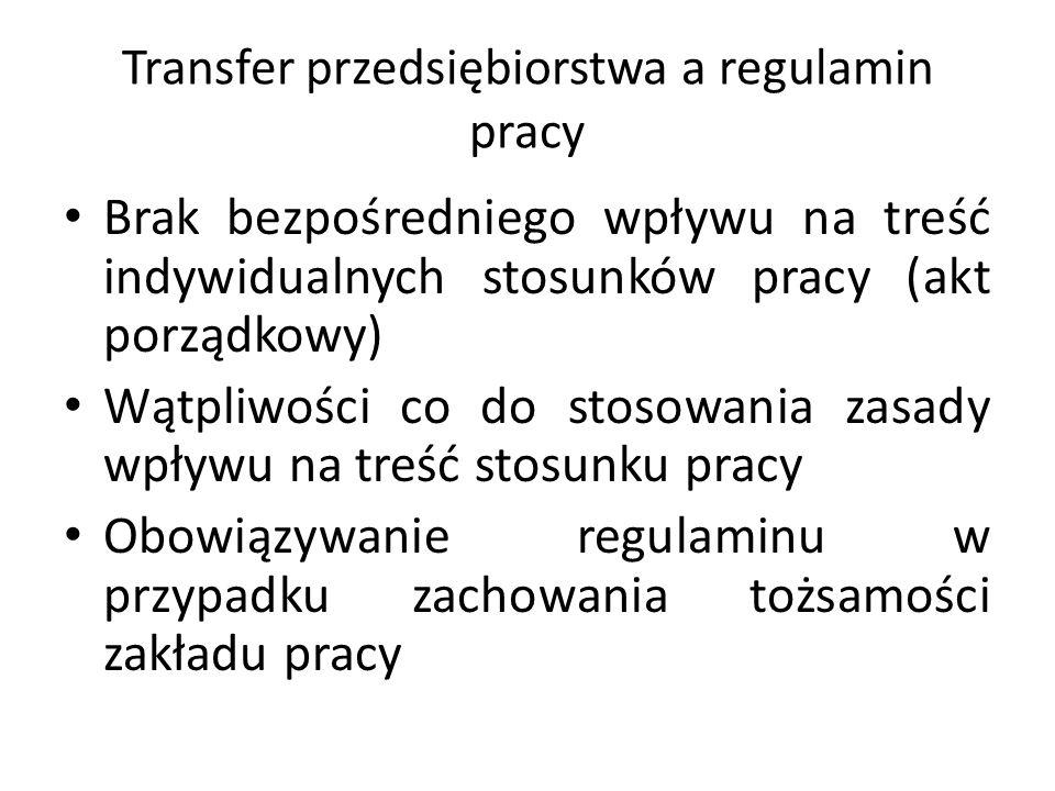 Transfer przedsiębiorstwa a regulamin pracy