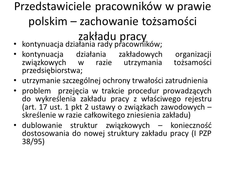 Przedstawiciele pracowników w prawie polskim – zachowanie tożsamości zakładu pracy
