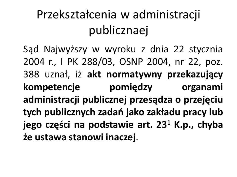 Przekształcenia w administracji publicznaej