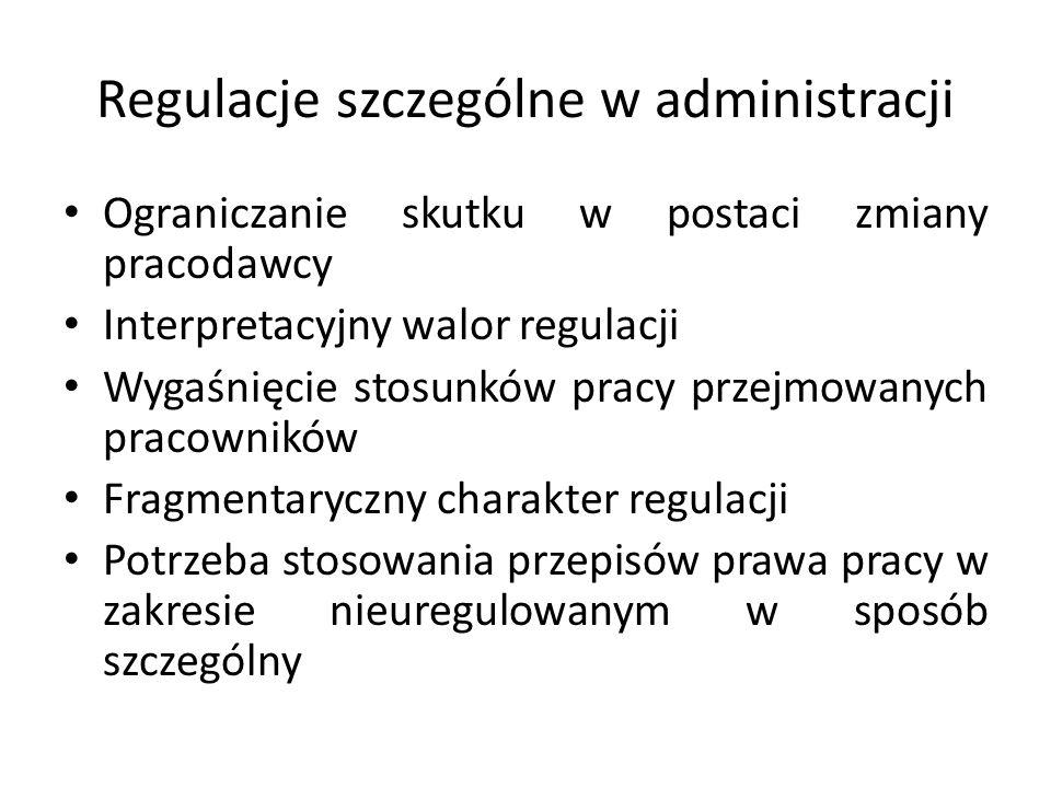 Regulacje szczególne w administracji