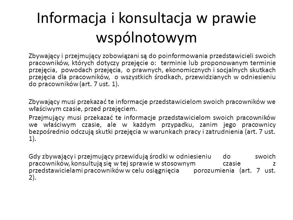 Informacja i konsultacja w prawie wspólnotowym