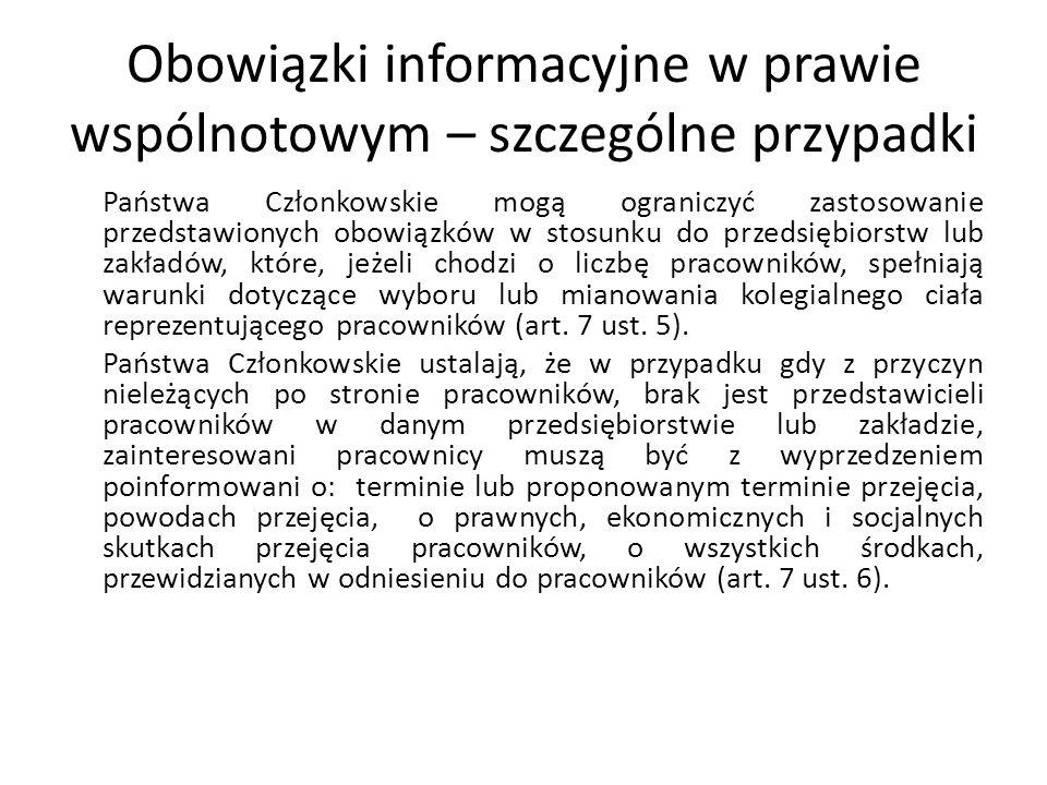 Obowiązki informacyjne w prawie wspólnotowym – szczególne przypadki