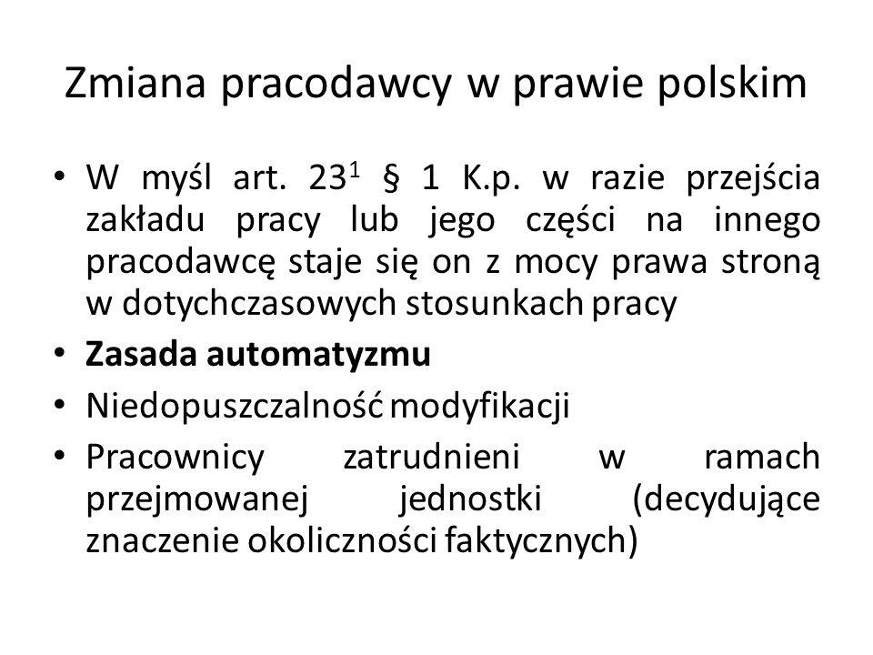 Zmiana pracodawcy w prawie polskim