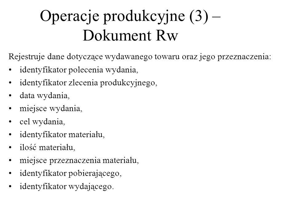 Operacje produkcyjne (3) –Dokument Rw