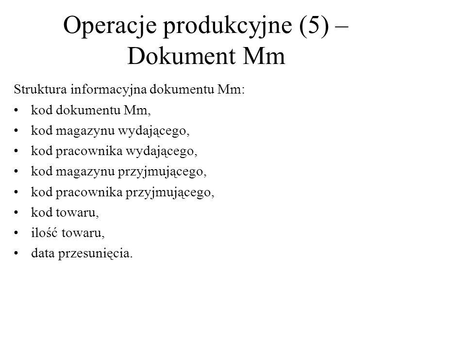 Operacje produkcyjne (5) –Dokument Mm