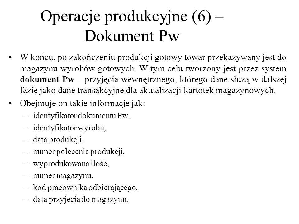 Operacje produkcyjne (6) –Dokument Pw