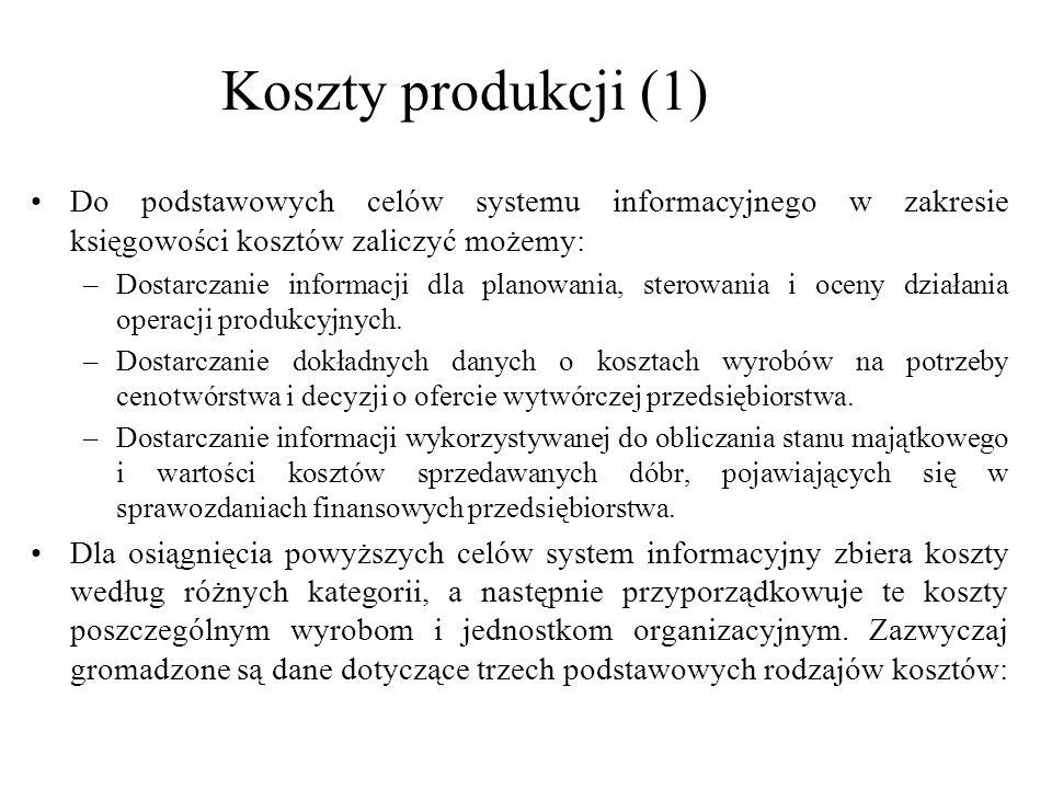 Koszty produkcji (1) Do podstawowych celów systemu informacyjnego w zakresie księgowości kosztów zaliczyć możemy: