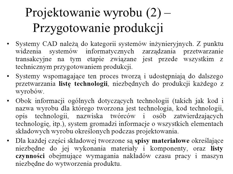 Projektowanie wyrobu (2) – Przygotowanie produkcji
