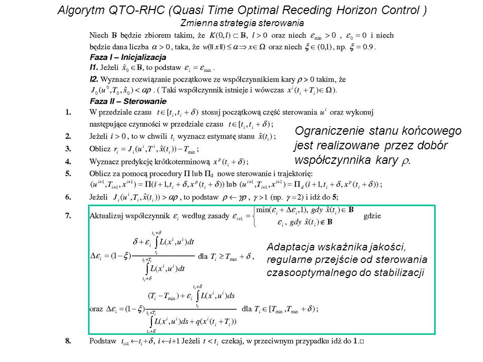 Algorytm QTO-RHC (Quasi Time Optimal Receding Horizon Control )
