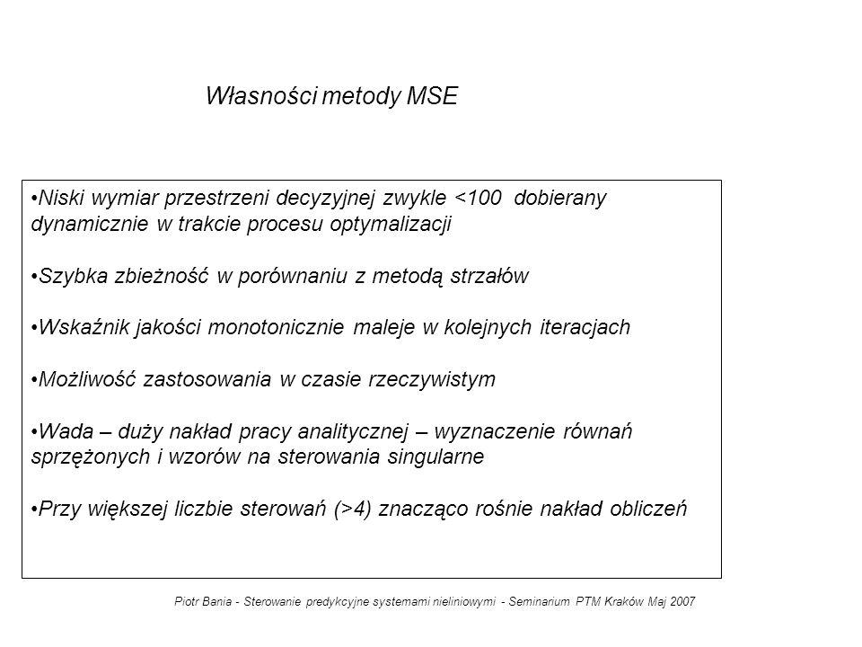 Własności metody MSE Niski wymiar przestrzeni decyzyjnej zwykle <100 dobierany dynamicznie w trakcie procesu optymalizacji.