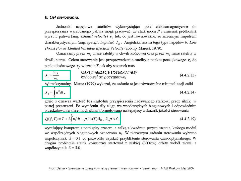 Maksymalizacja stosunku masy końcowej do początkowej