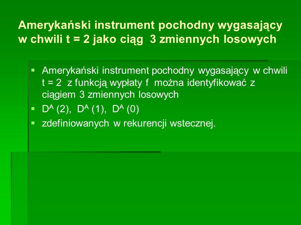 Amerykański instrument pochodny wygasający w chwili t = 2 jako ciąg 3 zmiennych losowych