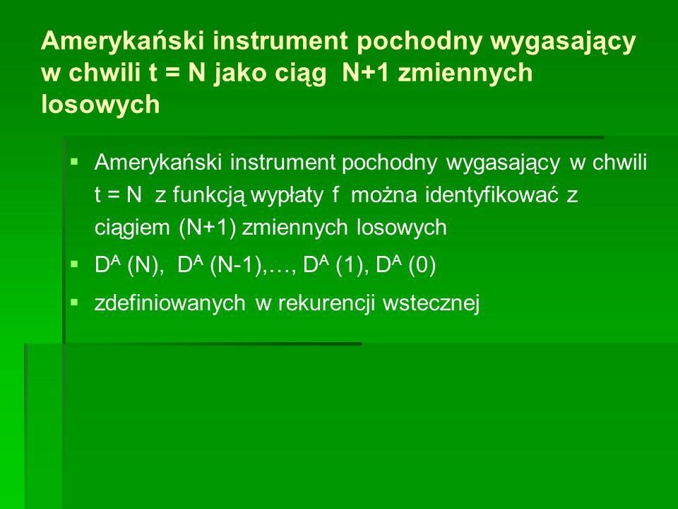 Amerykański instrument pochodny wygasający w chwili t = N jako ciąg N+1 zmiennych losowych