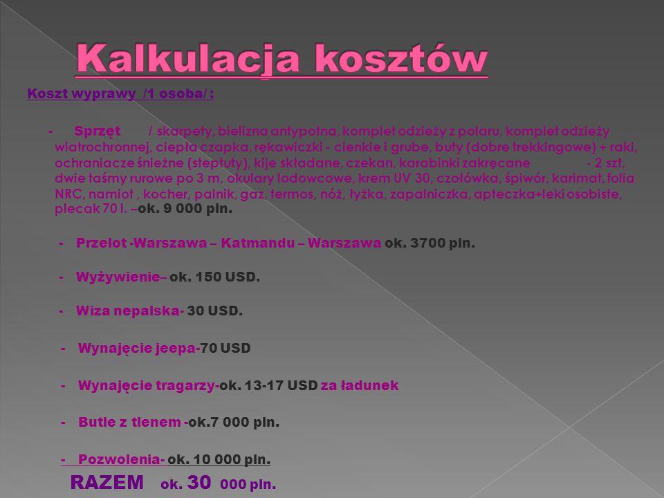 Kalkulacja kosztów RAZEM ok. 30 000 pln. Koszt wyprawy /1 osoba/ :