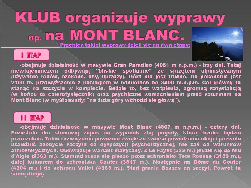 KLUB organizuje wyprawy np. na MONT BLANC.
