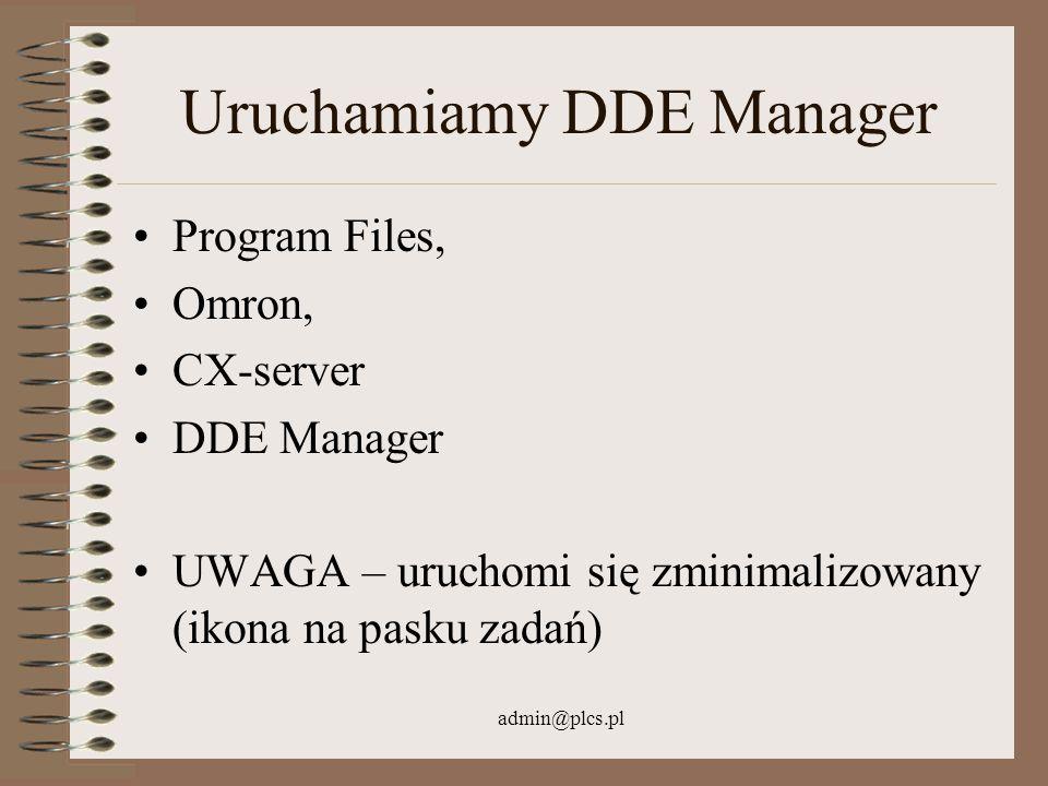 Uruchamiamy DDE Manager