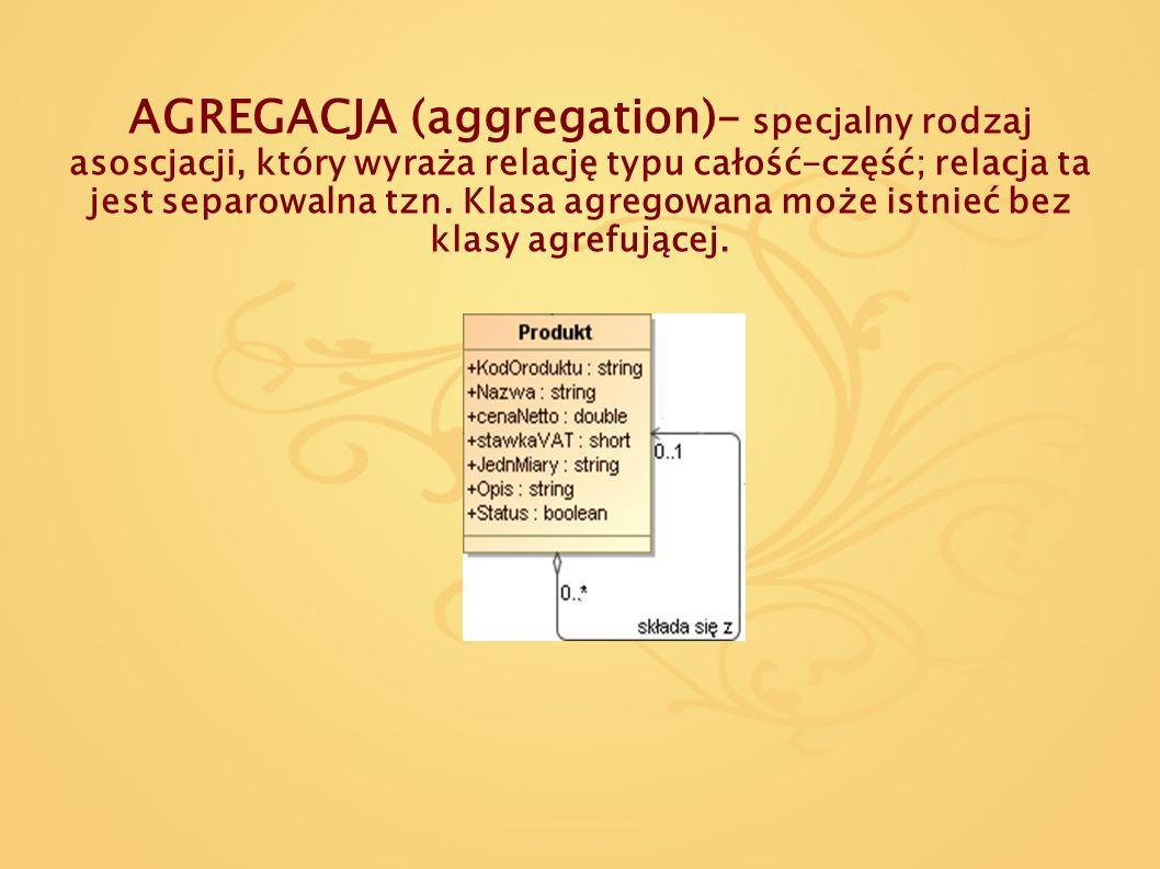 AGREGACJA (aggregation)– specjalny rodzaj asoscjacji, który wyraża relację typu całość-część; relacja ta jest separowalna tzn.