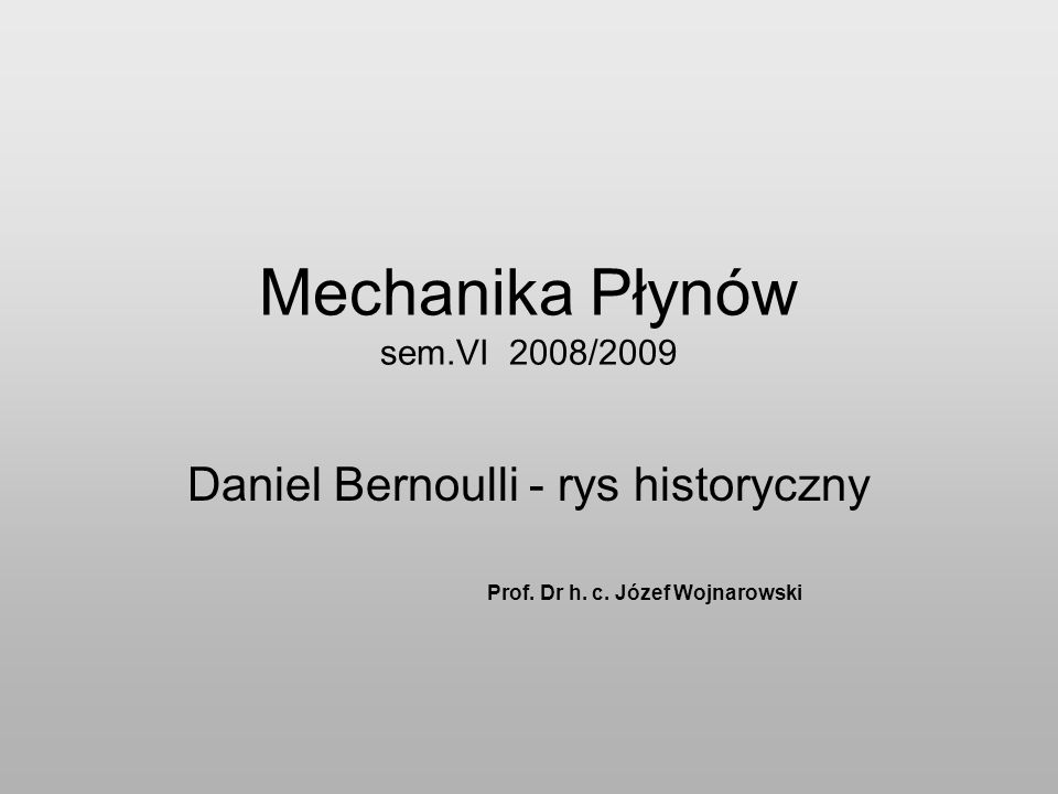 Mechanika Płynów sem.VI 2008/2009