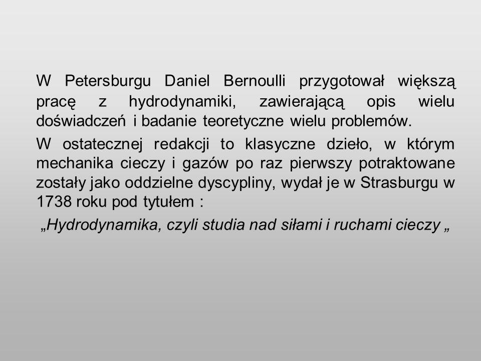 W Petersburgu Daniel Bernoulli przygotował większą pracę z hydrodynamiki, zawierającą opis wielu doświadczeń i badanie teoretyczne wielu problemów.