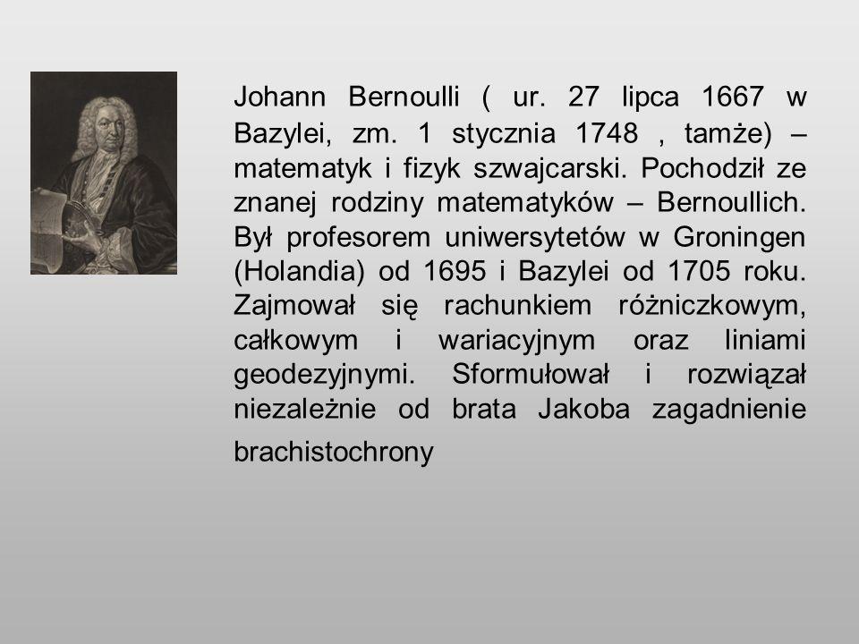 Johann Bernoulli ( ur. 27 lipca 1667 w Bazylei, zm