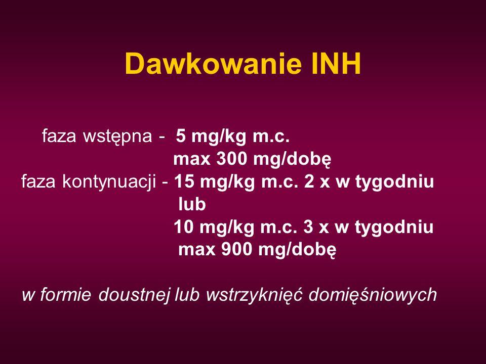 Dawkowanie INH faza wstępna - 5 mg/kg m.c. max 300 mg/dobę