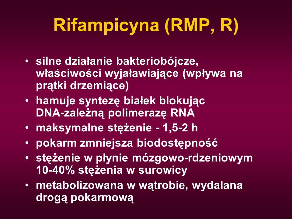 Rifampicyna (RMP, R) silne działanie bakteriobójcze, właściwości wyjaławiające (wpływa na prątki drzemiące)