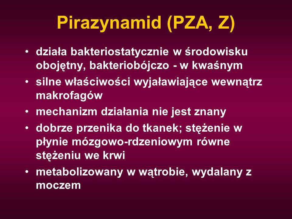 Pirazynamid (PZA, Z) działa bakteriostatycznie w środowisku obojętny, bakteriobójczo - w kwaśnym.