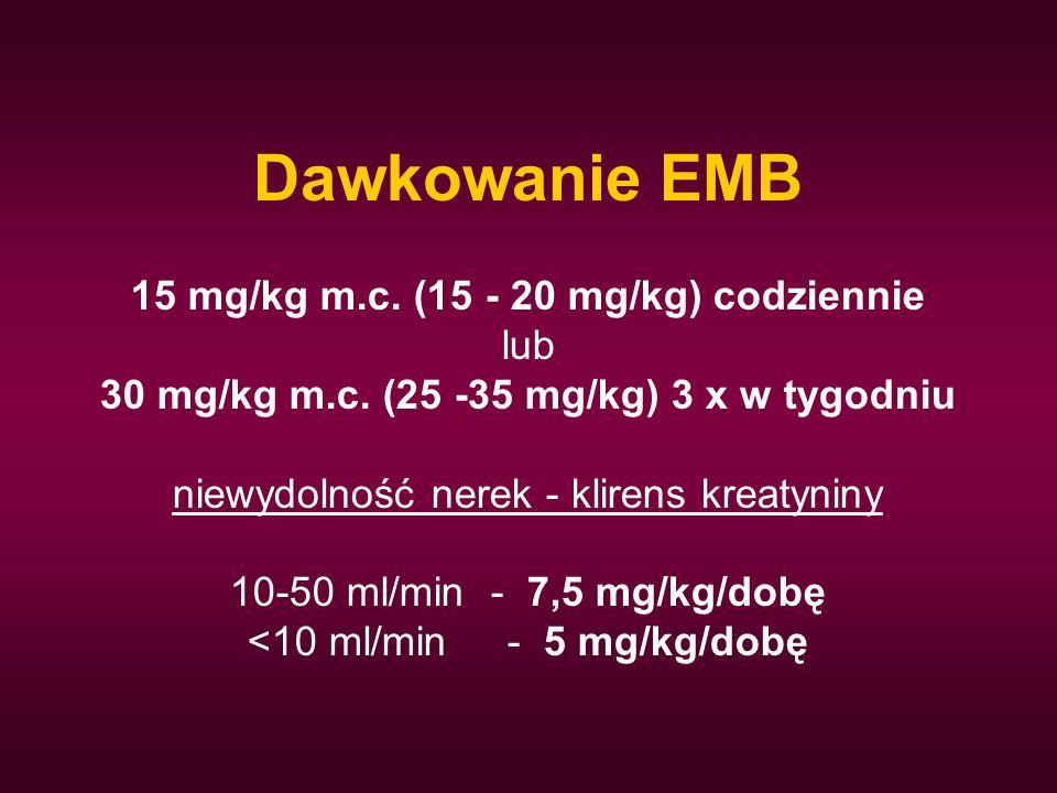 30 mg/kg m.c. (25 -35 mg/kg) 3 x w tygodniu