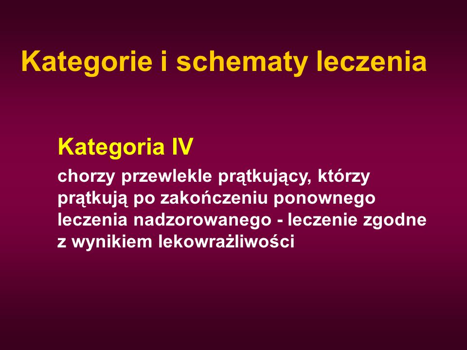 Kategorie i schematy leczenia