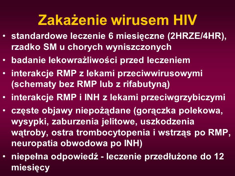 Zakażenie wirusem HIV standardowe leczenie 6 miesięczne (2HRZE/4HR), rzadko SM u chorych wyniszczonych.