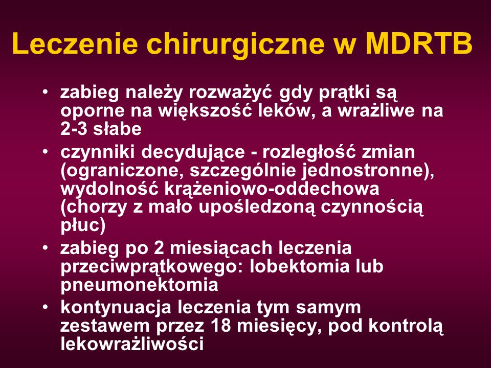 Leczenie chirurgiczne w MDRTB