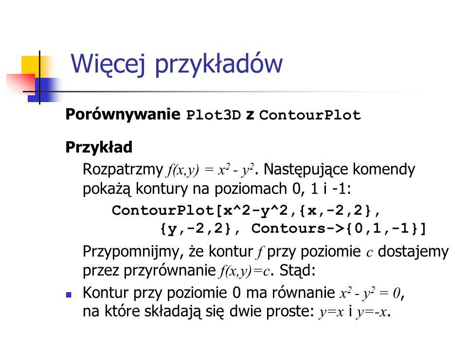 Więcej przykładów Porównywanie Plot3D z ContourPlot Przykład