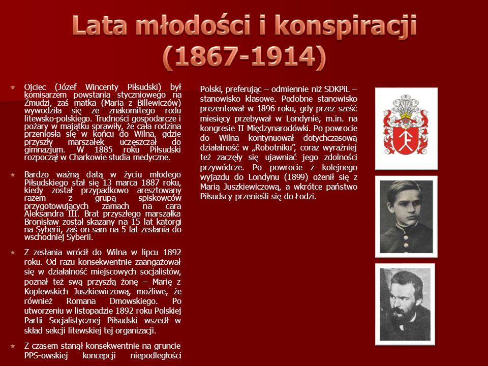 Lata młodości i konspiracji (1867-1914)