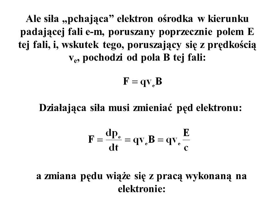 Działająca siła musi zmieniać pęd elektronu: