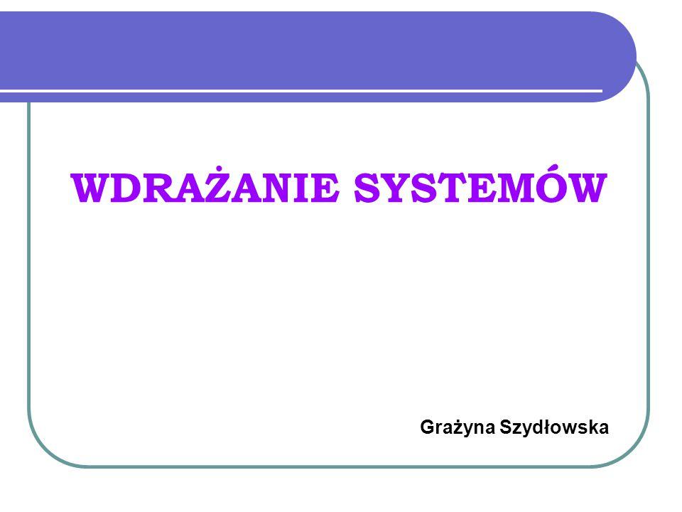 WDRAŻANIE SYSTEMÓW Grażyna Szydłowska