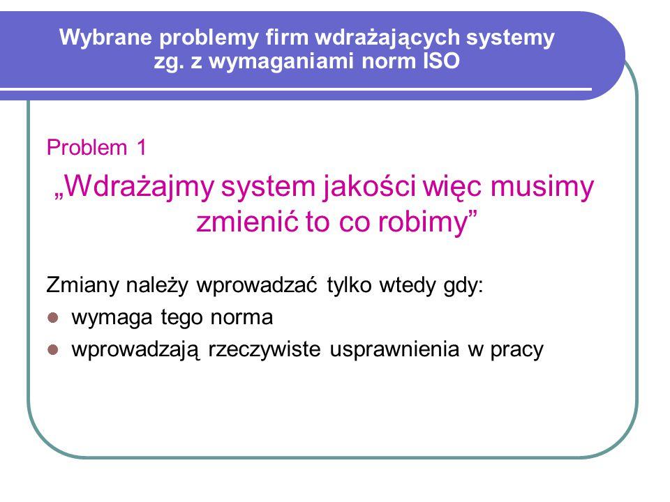 Wybrane problemy firm wdrażających systemy zg. z wymaganiami norm ISO