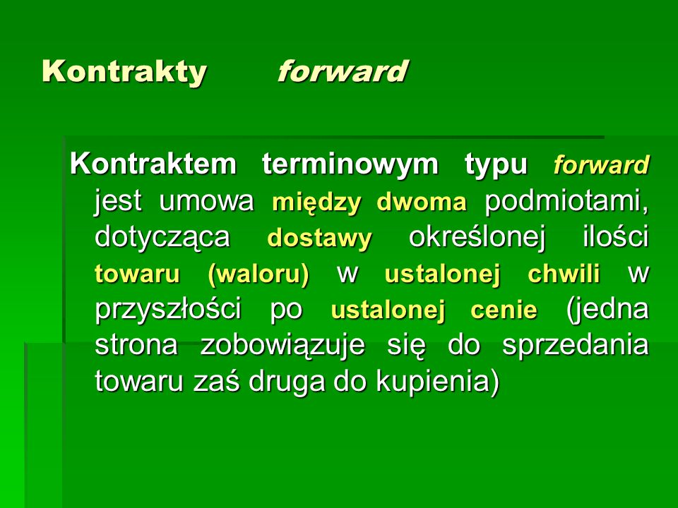 Kontrakty forward