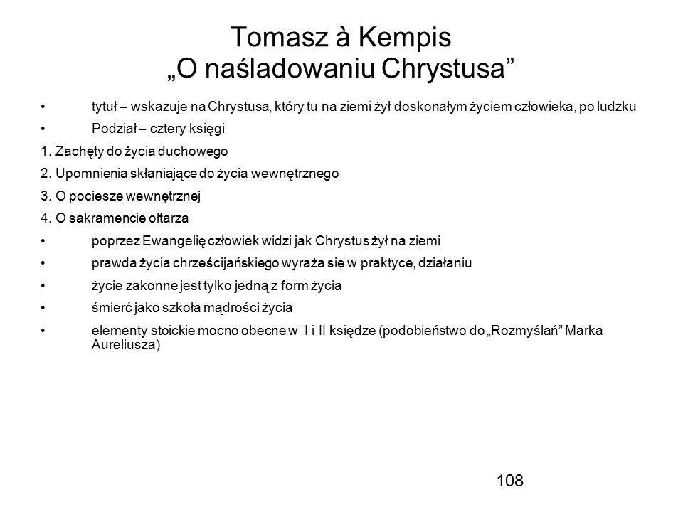 "Tomasz à Kempis ""O naśladowaniu Chrystusa"