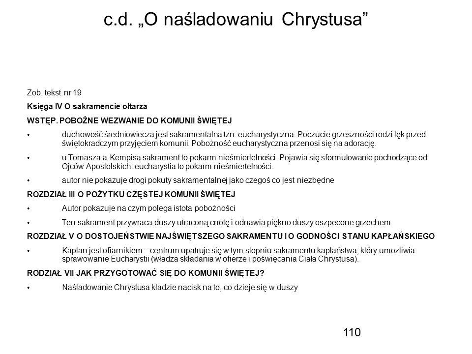 "c.d. ""O naśladowaniu Chrystusa"