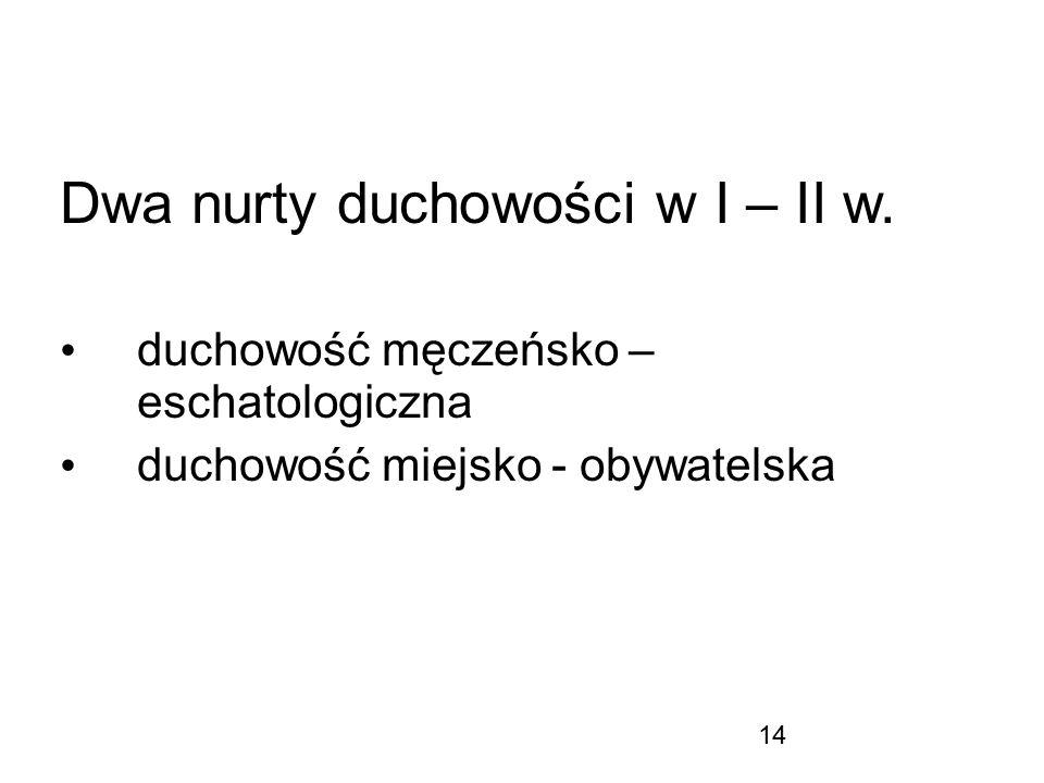 Dwa nurty duchowości w I – II w.